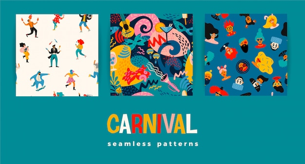Seamless patterns with funny dancing men and women in bright modern costumes