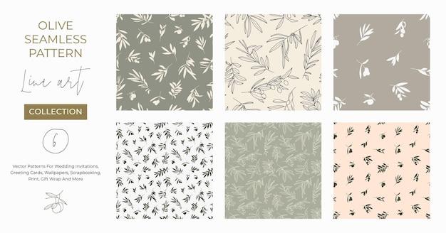 현대적인 미니멀 라이너 스타일의 올리브 가지와 함께 매끄러운 패턴입니다. 청첩장, 인사말 카드, 직물, 월페이퍼, 스크랩북, 선물 포장 등에 인쇄할 수 있는 벡터 꽃 배경