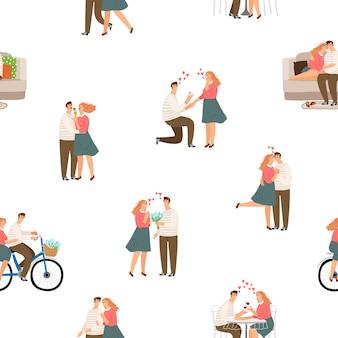 シームレスなパター幸せな愛のカップルイラスト