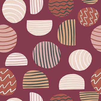 抽象要素とのシームレスなパターン。柔らかい栗色の背景に円と半分の飾り。