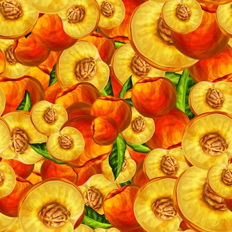 Seamless peach fruit sliced pattern