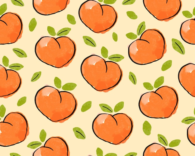 Seamless peach with leaf pattern background.