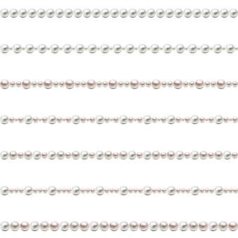 Seamless pearl beads. pearl beads set. vector.