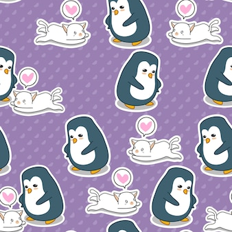 Seamless penguin and cat pattern.