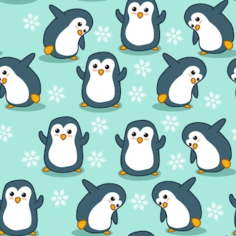 Seamless penguin pattern.