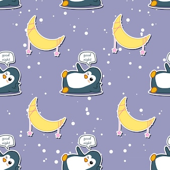 Seamless penguin says good night with moon pattern.