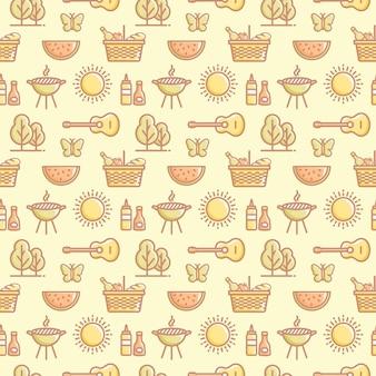 여름 야외 레크리에이션 및 바베큐 디자인을 위한 원활한 피크닉 패턴입니다.