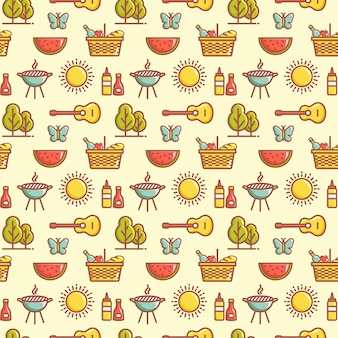 Seamless picnic pattern with watermelons, butterflies, barbecue grill, sun, trees, guitars, baskets and other symbols. summer outdoor recreation and bbq themes. vector background.