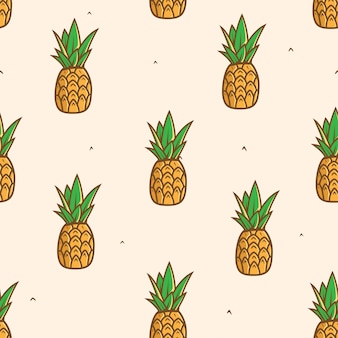 Seamless pineapple fruit pattern background