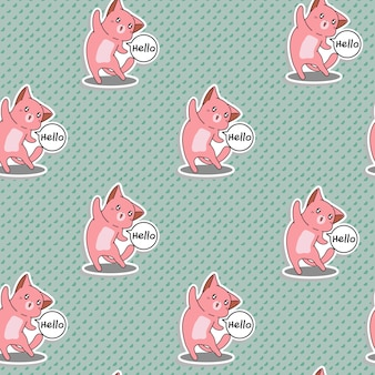 Seamless pink cat says hello pattern.