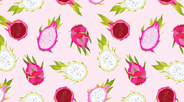 Бесшовные розовый дракон фруктовый узор. экзотические фрукты на мягком розовом фоне. гавайская еда. здоровое питание. модный иллюстрированный образец летних фруктов. красивый для обоев, сети.