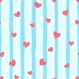 Seamless pink heart pattern. love illustration.