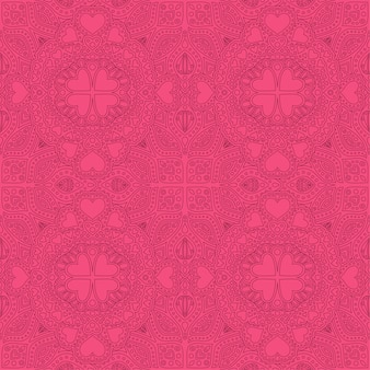 Seamless pink linear pattern with hearts shapes