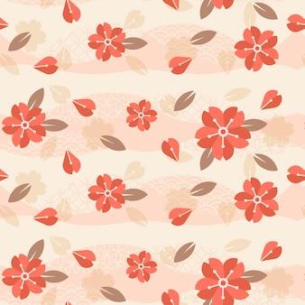 シームレスなピンクのパターンのヴィンテージ幾何学的な梅の花