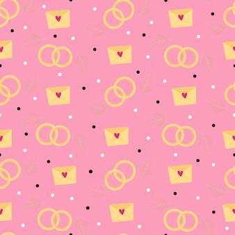 結婚指輪とラブノートのシームレスなピンクのパターン。バレンタインデーのイラスト。包装紙、壁紙、カバー、ノートのデザイン。ベクトルイラスト。