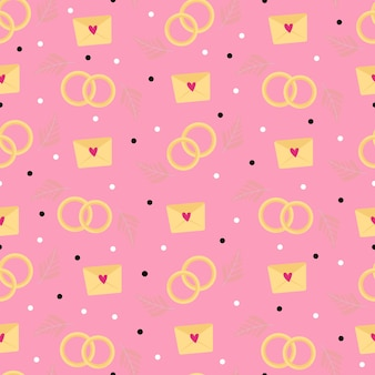 Seamless pink pattern with wedding rings and love notes. illustration for valentine's day. design of wrapping paper, wallpaper, covers, notebooks. vector illustration.