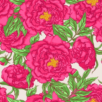 シームレスなピンクの牡丹