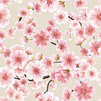 Seamless of pink sakura.