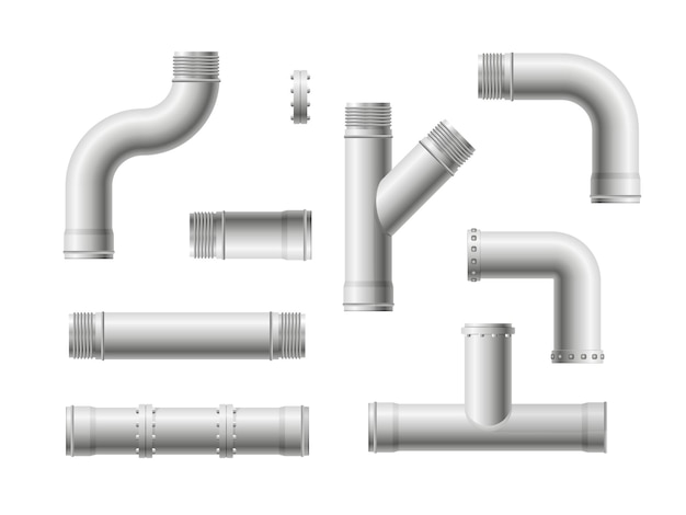 Seamless pipeline. realistic water and gas engineering plumbing system.