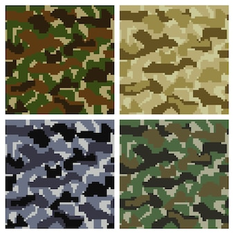 Seamless pixel camouflage background set
