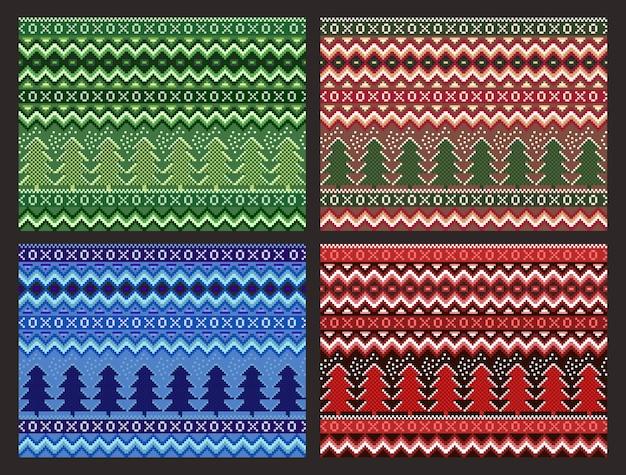 Seamless pixel christmas pattern set