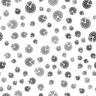 흰색 바탕에 원활한 피자 패턴입니다. 간단한 피자 아이콘 크리에이 티브 디자인입니다. 벽지, 웹 페이지 배경, 섬유, 인쇄 ui/ux에 사용할 수 있습니다.