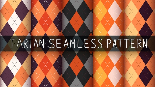 Seamless plaid halloween pattern set