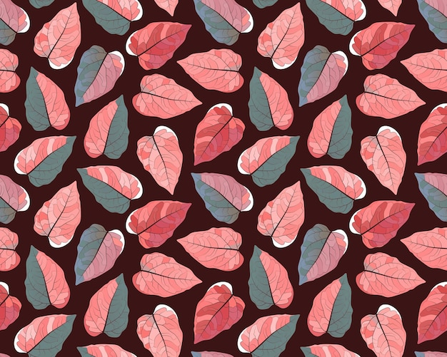 Seamless plant pattern. colorful leaves on a dark brown background.