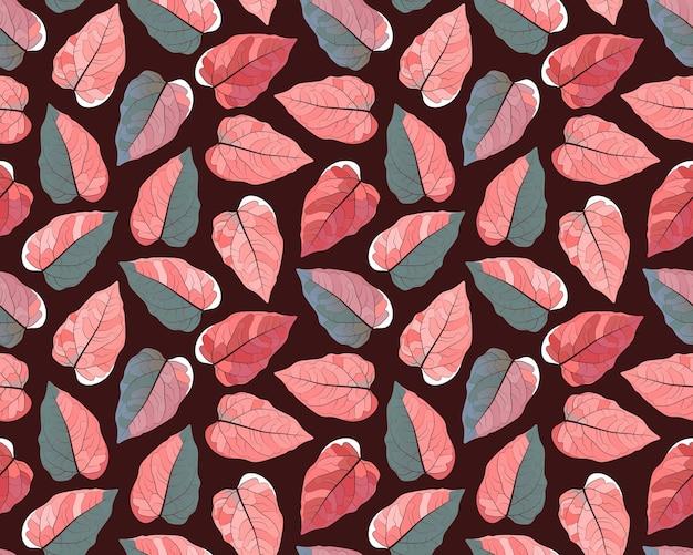 シームレスな植物パターン。ダークブラウンの背景にカラフルな葉。