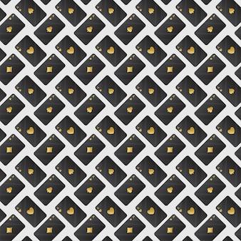 シームレスなトランプは、黄金色と黒の色で背景をパターン化します。