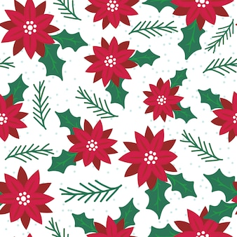 Seamless poinsettia with red and green pattern