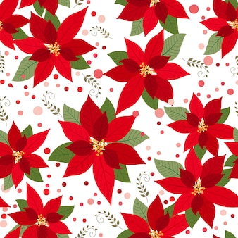 Seamless poinsettia with red and pink polka dots