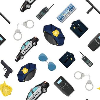 シームレスな警察機器セットパターン。手錠、暴動の盾、拳銃、警棒、バッジ、ラジオ、車、その他の要素。フラットスタイルのベクトル図