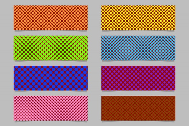 Seamless polka dot pattern horizontal banner background template set - vector graphics with colored circles