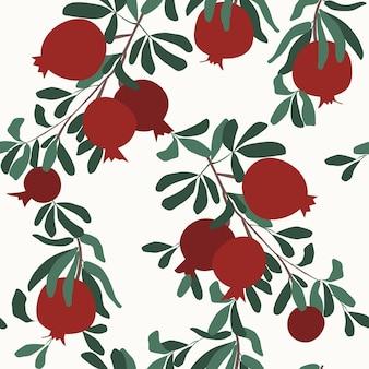 원활한 석류 분기 패턴 석류 열매 잎