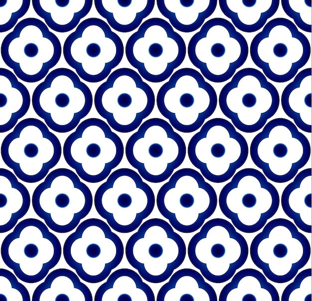 Seamless porcelain flower pattern vector