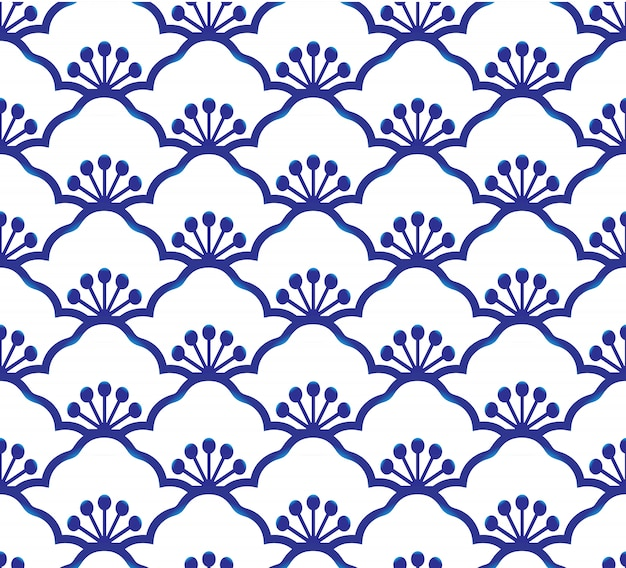 Seamless porcelain indigo blue and white simple art decor vector, chinese blue, ceramic  pattern