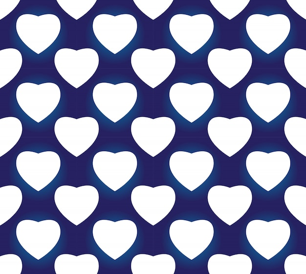 Seamless porcelain indigo blue and white simple art decor vector, chinese blue heart shape, ceramic  pattern