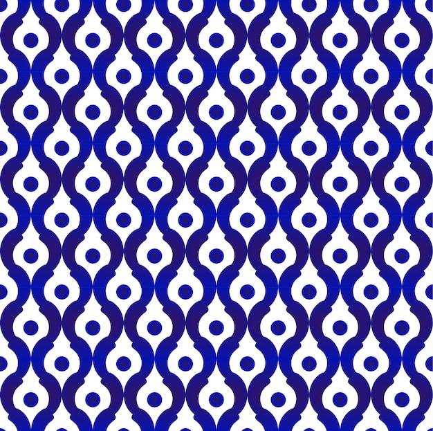 Seamless porcelain simple art decor, cute flower blue pattern