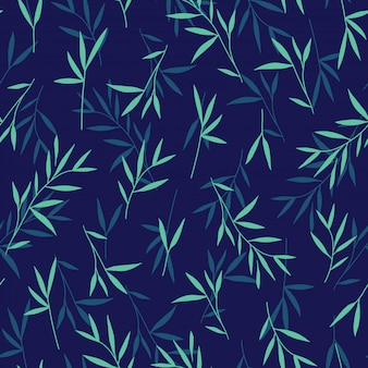 Seamless pretty green bamboo leaves pattern