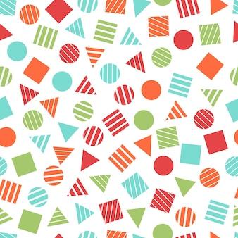 조직 및 엽서에 대한 원활한 기본 기하학적 패턴입니다. 트렌디한 멋쟁이 현대적인 색상 배경입니다. 트렌디한 기하학적 요소 멤피스 카드입니다. 벡터 일러스트 레이 션