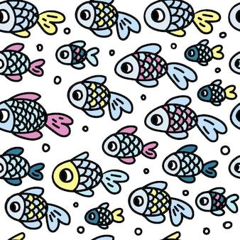 흰색 배경에 귀여운 파란색, 분홍색 및 노란색 물고기의 원활한 인쇄
