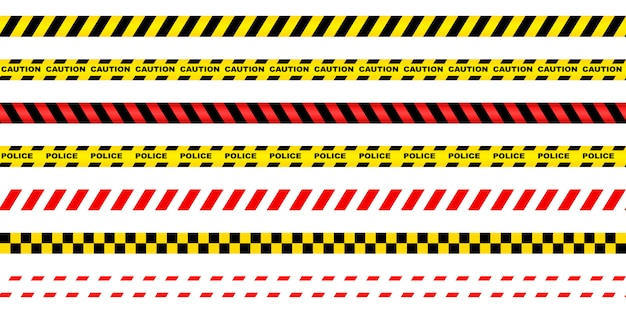 Seamless prohibiting ribbon red-white, red-black, yellow-black.