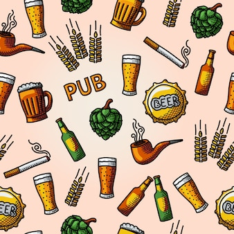 Seamless pub, beer handdrawn pattern with glass and mug, bottle, hop, wheat, tap, pipe, cigarette