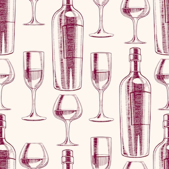 Seamless purple background with bottles and glasses of wine. hand-drawn illustration