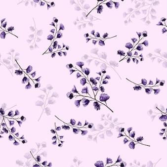 Seamless purple floral pattern.