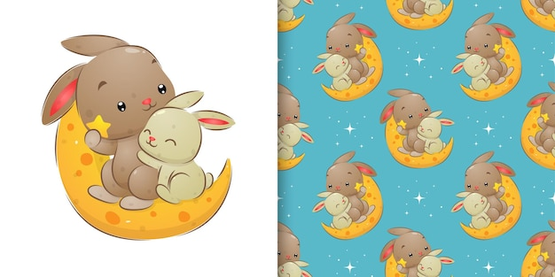 Seamless of rabbits sitting and sleeping on the bright moon in the night illustration