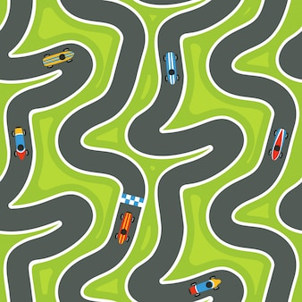 Seamless race track pattern with racing cars