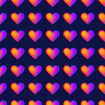 Seamless rainbow realistic heart pattern vector.
