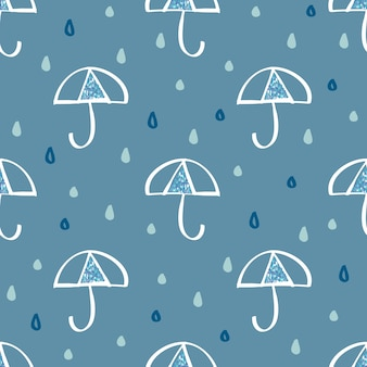 Seamless raindrop with blue glitter umbrella symbol pattern
